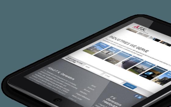 בניית אתרים | עיצוב אתרים | ג'ומלה - בניית אתר פ.ק. גנרטורים - fk-ipad-