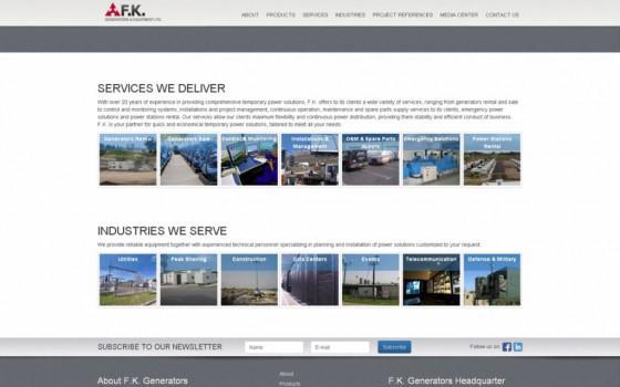 בניית אתרים | עיצוב אתרים | ג'ומלה - בניית אתר פ.ק. גנרטורים - homepage-en-